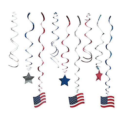 Fun Express - Patriotic Hanging Swirl Mega Pack for Fourth of July - Party Decor - Hanging Decor - Spirals & Swirls - Fourth of July - 30 Pieces