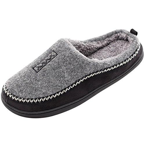 HomeTop Men's Indoor / Outdoor Wool Cross Decor Slip On Memory Foam Clog House Slippers (US Men's 9-10, Gray)