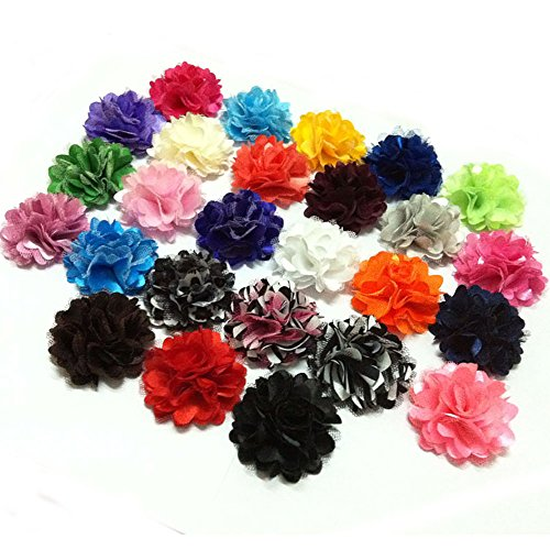 Yazon 20pcs 2inch Satin Mesh Flower Hair Clips Fabric Hair Flower Clips