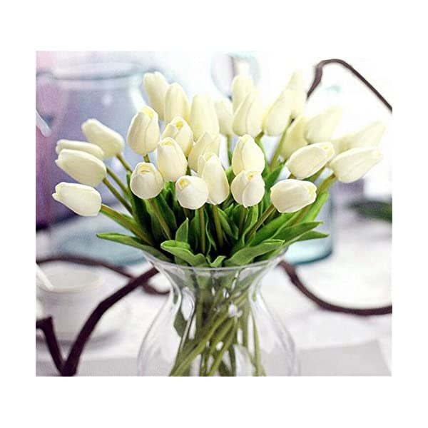30 Heads Real-touch Artificial Flowers Tulip Arrangement Bouquet Home Wedding Party Decor (Milk White,30pac)