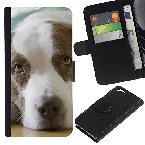 EuroCase - Apple Iphone 6 4.7 - pointer dog canine animal brown - Cuir PU Coverture Shell Armure Coque Coq Cas Etui Housse Case Cover