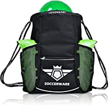 Soccerware Soccer Bag Backpack - XL Capacity | Kids & Adult | Heavy Duty | Fits Soccer Ball, Shins, Cleats | U5 - U22 Boys/Girls Adjustable Size