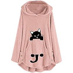 IEason - Sudadera de Forro Polar con Capucha para Mujer, diseño de Gato Bordado, Pink-Big Cat, L