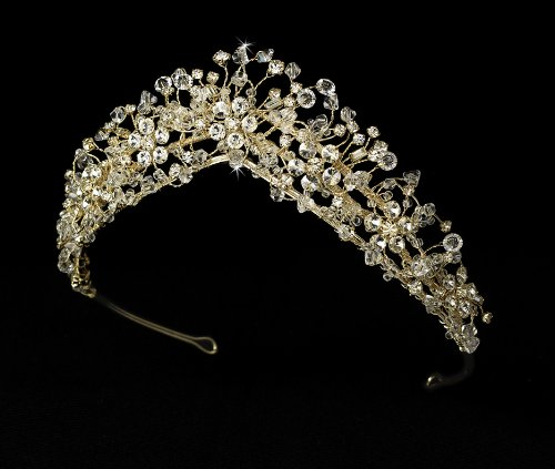 (Astrid Crystal Couture Gold Wedding Bridal Tiara)