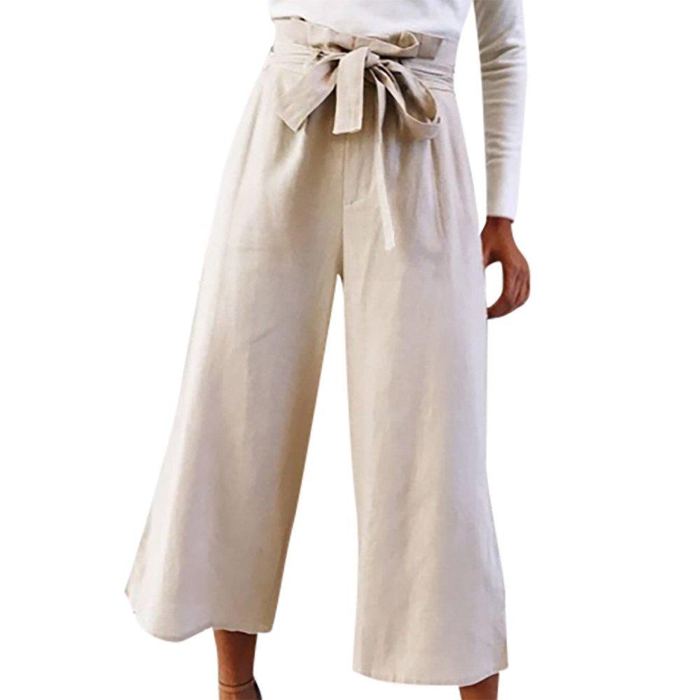 Vickyleb Causal Pants Women's Bow Tie High Waist Jean Wide Calf Length Pants Long Leg Leggings