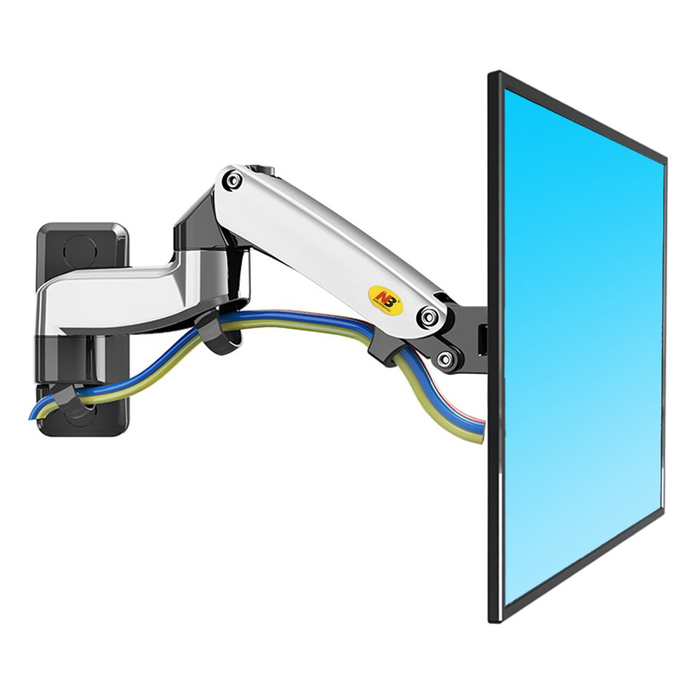 N B North Bayou LED LCD Monitor Wall Tv Mount Bracket with Full Motion Articulating Swivel and Gas Spring for 17-27 Inch Flat Panel Displays (Black) LTD F150B
