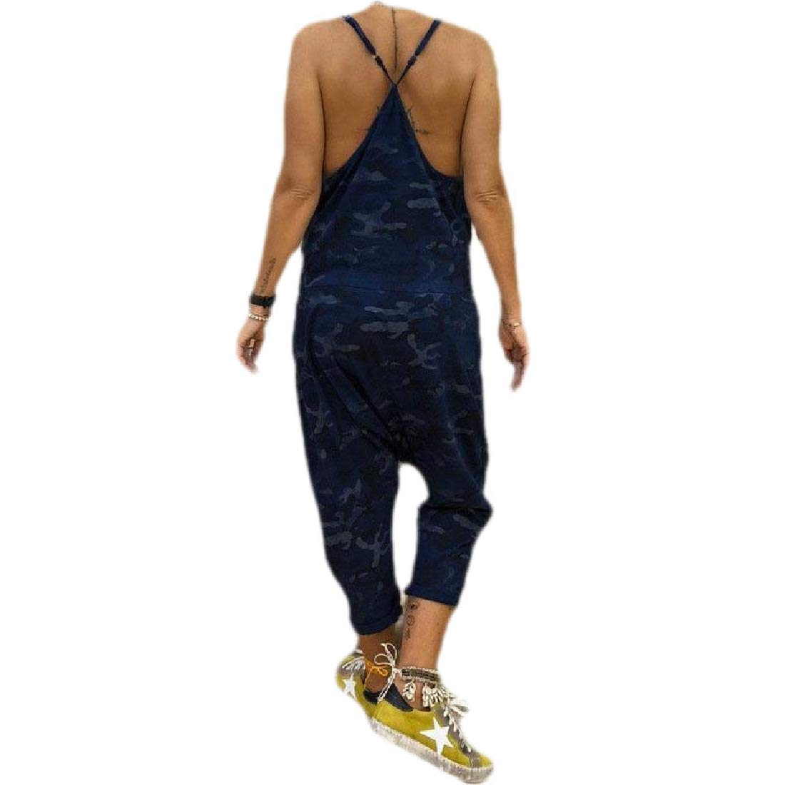 Fubotevic Womens Loose Spaghetti Strap Camouflage Jumpsuit Romper