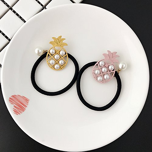 Grilled Pineapple - Korean summer color personality small fresh and lovely grilled pineapple empty alloy pearl hair rope hair circle hair accessories rubber band for women girl lady