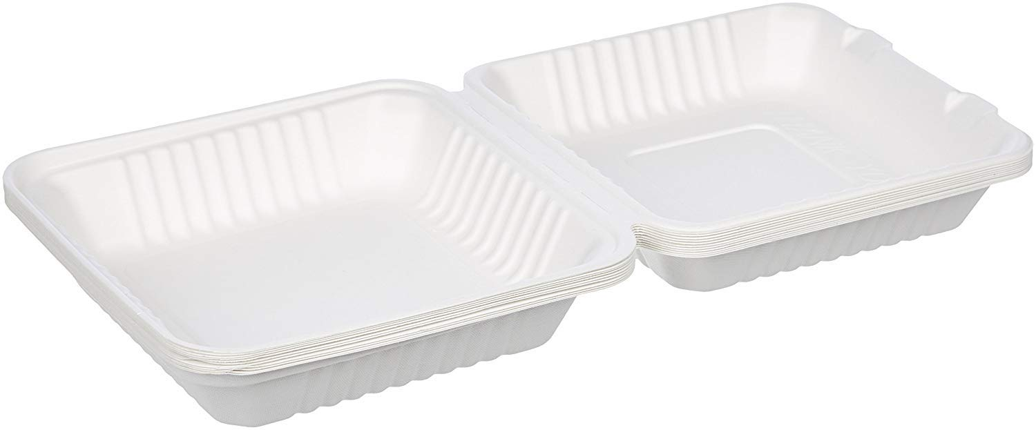 Compostable Biodegradable Eco Friendly Disposable Clamshell Food Container, 25-Count(8x8x3)