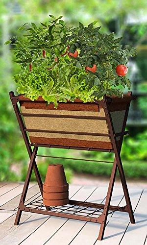 Panacea Vintage Grow Bag Patio Planter And Stand, 26u0026quot;L