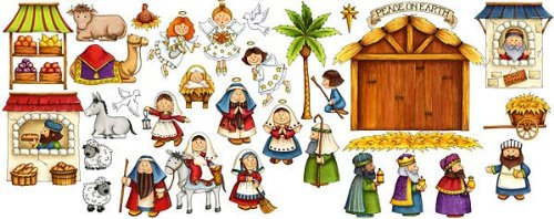 - Nativity Scene Felt Figures for Flannel Board Stories Birth of Jesus Christmas- Precut & Ready to Use