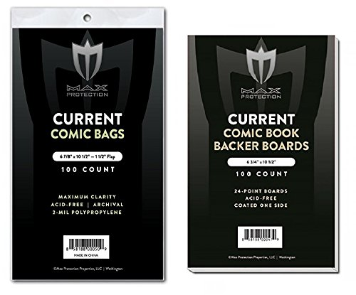 (200) Current Size Ultra Clear Comic Book Bags and Boards - by Max Pro (Qty= 200 Bags and 200 Boards) by Max Protection