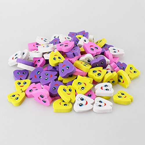 Airgoesin 50pcs Molar Shaped Tooth Rubber Erasers for Dentist Dental Clinic School Gift