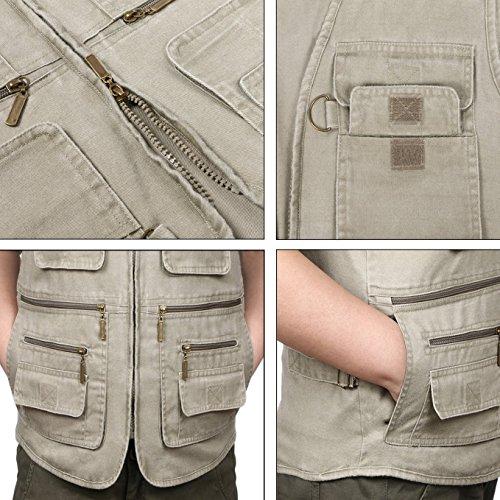 Eidlvais Men's Multi-Pockets Vest For Outdoors Travels Sports Khaki Size XL by Eidlvais (Image #7)