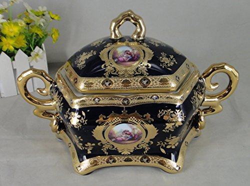 - Limoges Style Candy Jar/ Tureen Centerpiece in Cobalt Blue & Gold Romance Design, WB1123