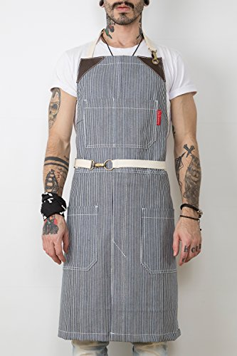 under-ny-sky-no-tie-apron-railroad-blue-stripe-denim-brown-leather-split-leg