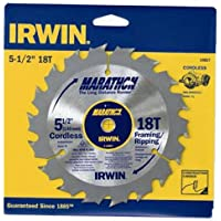 "IRWIN Tools MARATHON Carbide Table/Miter Circular Blade, 14027, Marathon, 5-1/2"" 18T"