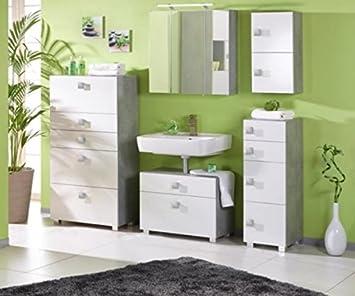 Komplettes Badezimmer Bad Quadra Weiß / grau 5teilig Set (127617+ ...
