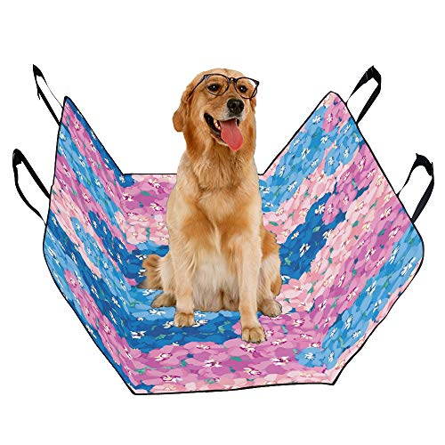 MOVTBA Fashion Oxford Pet Car Seat Delphinium Hand Drawn Vintage Flower Waterproof Nonslip Canine Pet Dog Bed Hammock Convertible for Cars Trucks SUV
