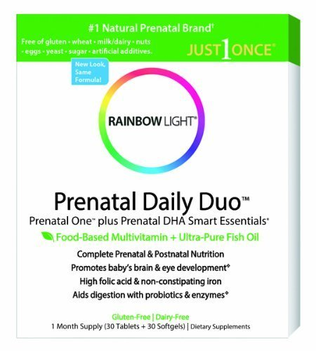 Rainbow Light, Prenatal and Posnatal, Prenatal One Mulitvitamin and Prenatal DHA, 30 Tablets and 60 Softgels Pack