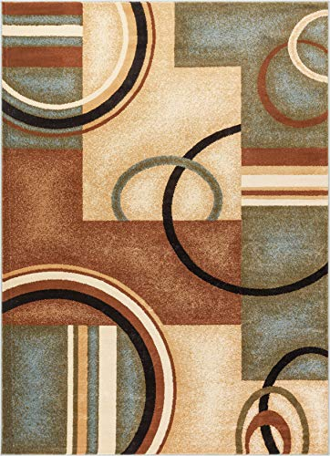 (Deco Rings Light Blue Geometric Modern Casual Area Rug 8x10 8x11 ( 7'10