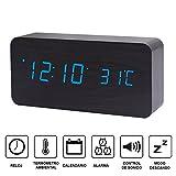 Redlemon Reloj Despertador Digital Minimalista de Madera con LED. Alarma, Fecha y Hora, Temperatura, Despierta tu Reloj con un Aplauso, Sensor de Sonido