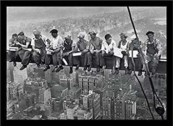 Buyartforless If If PA PP0020 36×24 2 Black Plexi Framed Men On Steele Beam Lunchtime ATOP NYC by John C Ebbets Photographic Art Print Poster Wall Decor, 36 X 24 , Gray