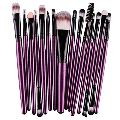 Makeup Brush,Hosamtel 15 Pcs MK15-1 Cosmetic Brush , Makeup Brush Set for Eye Makeup Eyeliner Eye Shadow Eye Brow Foundation Powder Liquid Cream Blending Brush With Wooden Handles (Purple)