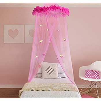 Boho and Beach Princess Feather Boa Bed Canopy Mosquito Net for Girls with Sparkly Hearts & Amazon.com: Boho and Beach Princess Feather Boa Bed Canopy ...