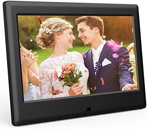 DBPOWER 7 Inch Digital Picture Frame – Upgraded Digital Photo Frame with 16 9 HD IPS Display, Photo Music Video Player Calendar Clock Auto-On Off Timer, Advertising Player with Remote