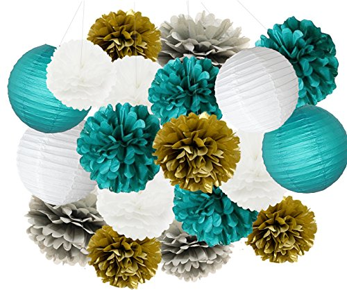 Furuix Big Size White Teal Grey Gold 10inch 8inch Tissue Paper Pom Pom Paper Lanterns Mixed Package for Teal Themed Party Wedding, Bridal Shower Decor Teal Blue Baby Shower Teal Wedding Decoration