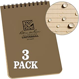 """product image for Rite in the Rain Weatherproof Top-Spiral Notebook, 4"""" x 6"""", Tan Cover, Universal Pattern, 3 Pack (No. 946T-3)"""