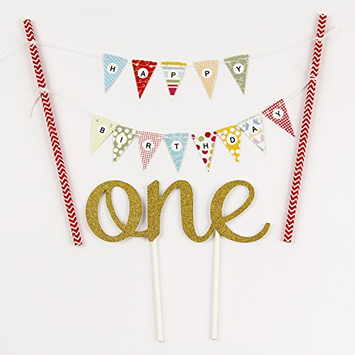 (KUNGYO One 1ST Happy Birthday Cake Bunting Banner Small Pink Pennant Flags And Golden One Cake Topper)