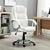 White Leather Office Chair Belleze Ergonomic Office PU Leather Chair Executive Computer Hydraulic, White