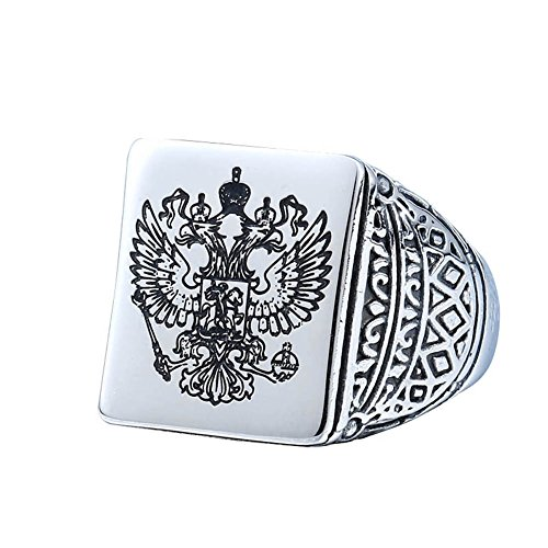 Russian Impirial Double Head Eagle Ring Solid Silver Stainless Mens Ring