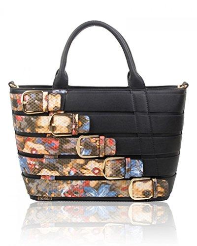 Black Leather Style Faux Leahward Bags Women's Shoulder Celeb Tote Large Belt Handbags Cw160477 F qnOgw86