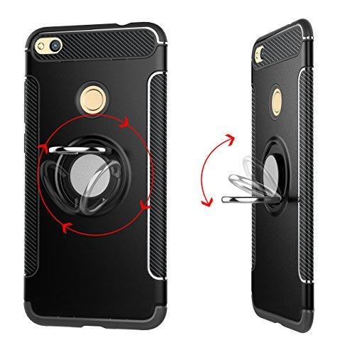 Funda Huawei P8 Lite 2017 Case Carcasa funda silicona TPU+PC Absorción de impacto Doble protección Cover Para soporte de coche Anillo de soporte case para Huawei P8 Lite 2017 / honor 8 lite 2017 (Plat Rojo