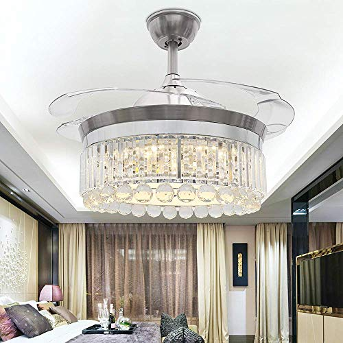 RS Lighting Crystal Silver Invisible Ceiling Fan 42 Inch Modern Retractable Ceiling Fan Light 32W Three-Color Light for Living Bedroom Restaurant Indoor Room Chandelier Ceiling Fan Lamp (Silver-08)