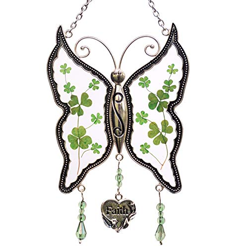 New Faith Butterfly Suncatchers Stained Glass Irish Celtic Suncatchers Glass-Style Art Glass Suncatchrs St Patrick's Day Decoration, Irish Gift in-Law Gift, Irish Family Shamrock Suncatchers (Faith) ()