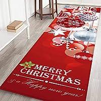 Hankyky Christmas Santa Snowmen Reindeer Floor Runner Area Rug(W:24inch-L:71inch)