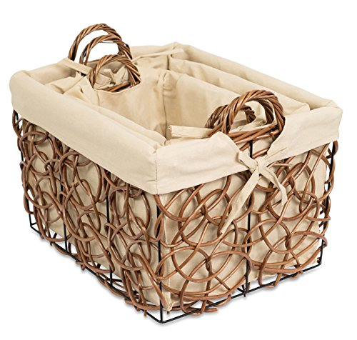 BirdRock Home Decorative Willow Basket Set with Liner | Set of 3 | Double Handle Wooden Basket | Rectangular Wicker Storage Bin | Brown