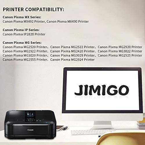 JIMIGO PG-245XL Remanufactured Ink Cartridges for Canon PG-245 Ink, High Yield 2 Black of 245 Ink, Work with Canon Pixma MX492 MX490 MG2520 MG2920 MG2420 MG2522 MG2922 MG2525 MG3022 MG3020 IP2820 by JIMIGO (Image #1)