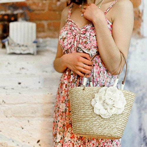 De Compras Color Paja Mujeres Everpert Las Flor Verano De La Del Asas Tejidas De Beige Playa Hombro De Bolsos Pequeña W7xwS8fqTx