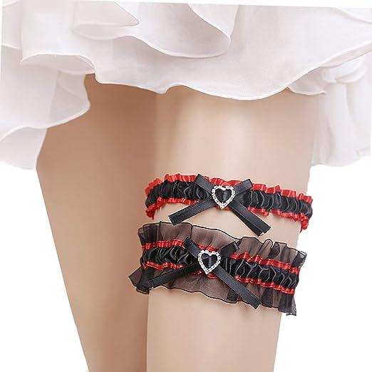 Kalolary Wedding Bridal Garter Belt Ruffled Organza with Satin Bow Heart  Charm Elastic Garter Belt for