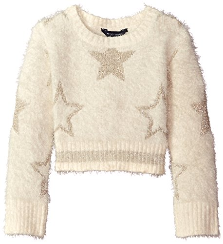 7c39455d7 Amazon.com  Tommy Hilfiger Girls  Crop Lurex Star Intarsia Sweater ...