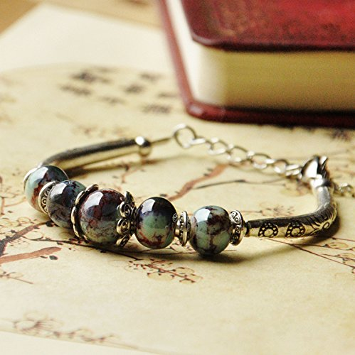 (Jingdezhen ceramic kiln jewelry vintage jewelry beads bracelet female models have to extend the chain adjustable size)