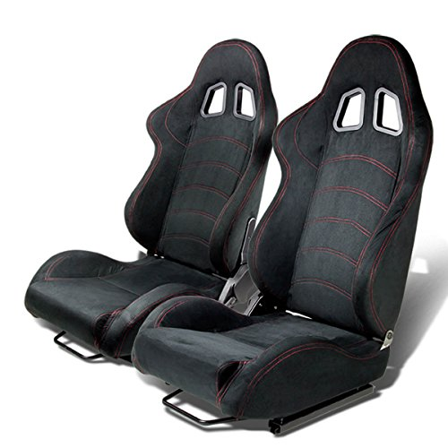 Type-One Luxury Suede Sport Racing Seats with Red Stitch (Pair of Black) ()