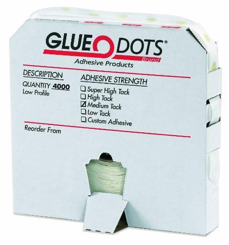 "Glue Dot GD110 Low Profile Medium Tack Glue Dot, 1/4"" Diameter x 1/64"" Thick (Case of 4000)"