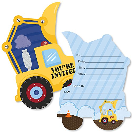 Construction Truck - Shaped Fill-in Invitations - Baby Shower or Birthday Party Invitation Cards with Envelopes - Set of 12]()
