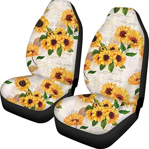 Advocator Bohemia Fabric Front Seat Covers Sunflowers Design Car Interior Protector Set of 2 Universal Fit for Vehicle Sedan SUV and Truck